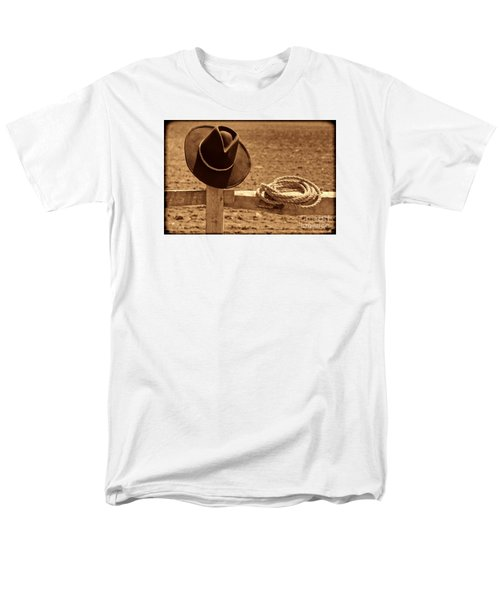 Cowboy Hat And Rope On A Fence Men's T-Shirt  (Regular Fit) by American West Legend By Olivier Le Queinec