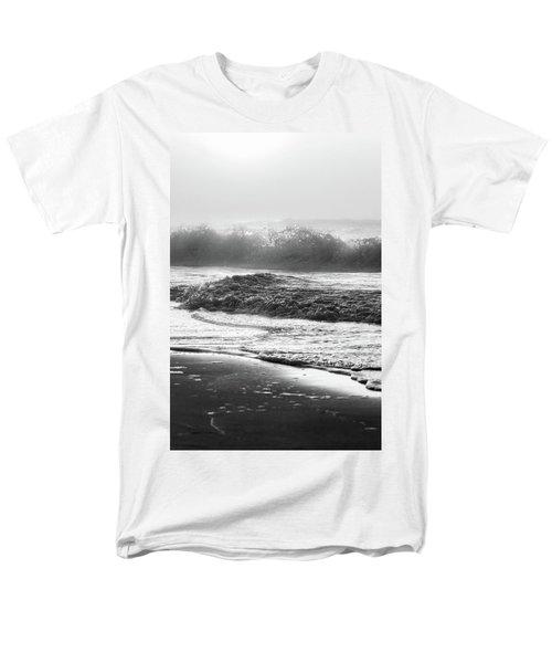 Men's T-Shirt  (Regular Fit) featuring the photograph Crashing Wave At Beach Black And White  by John McGraw