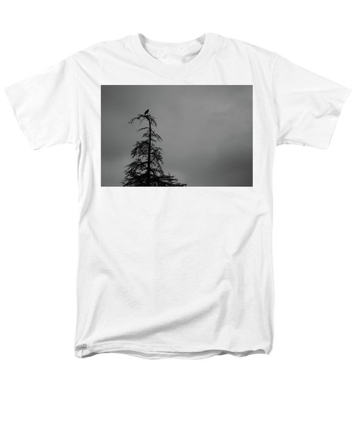 Crow Perched On Tree Top - Black And White Men's T-Shirt  (Regular Fit)