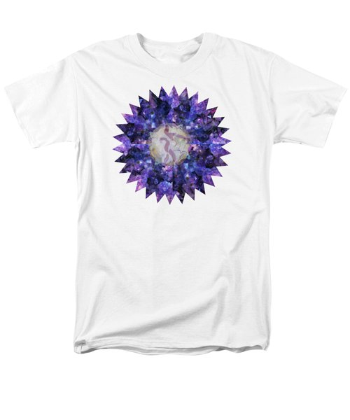 Men's T-Shirt  (Regular Fit) featuring the mixed media Crystal Magic Mandala by Leanne Seymour