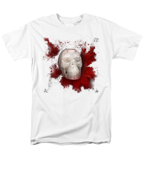 Crystal Skull With Red On Transparent Background Men's T-Shirt  (Regular Fit) by Terri Waters
