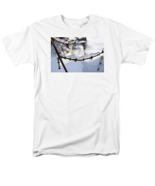 Men's T-Shirt  (Regular Fit) featuring the photograph Curved Clumps Of Ice by Deborah Smolinske