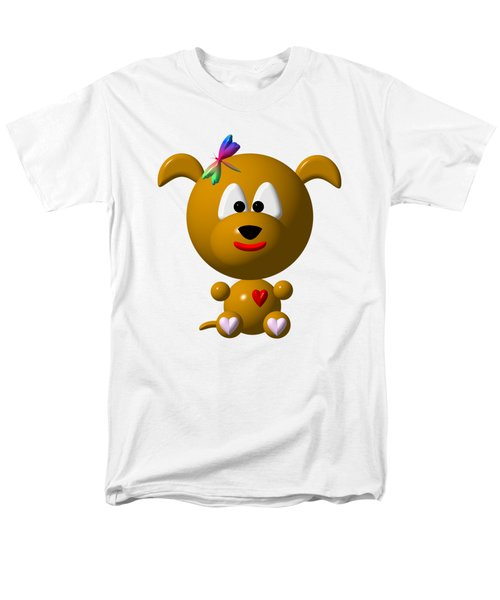 Cute Dog With Dragonfly Men's T-Shirt  (Regular Fit)