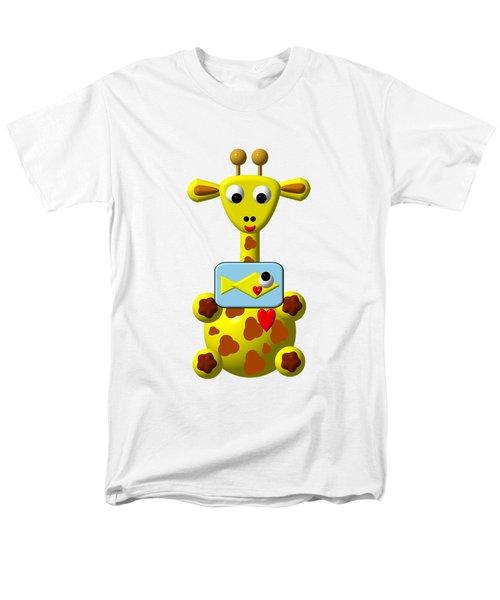 Cute Giraffe With Goldfish Men's T-Shirt  (Regular Fit) by Rose Santuci-Sofranko