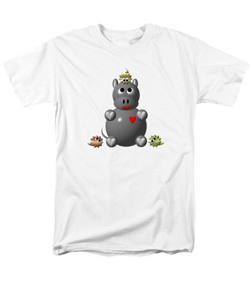 Cute Hippo With Hamsters Men's T-Shirt  (Regular Fit)