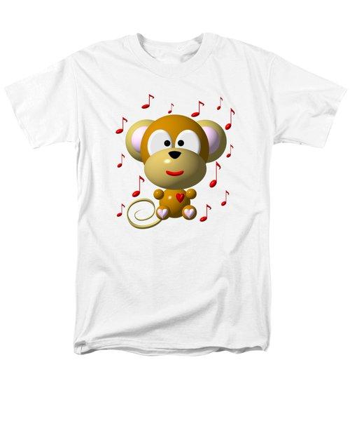 Cute Musical Monkey Men's T-Shirt  (Regular Fit) by Rose Santuci-Sofranko