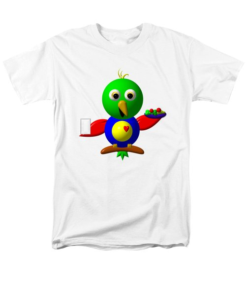 Cute Parrot With Healthy Salad And Milk Men's T-Shirt  (Regular Fit)
