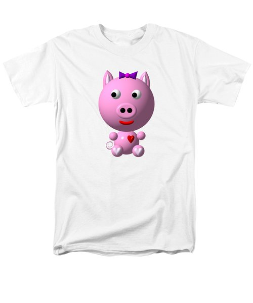 Cute Pink Pig With Purple Bow Men's T-Shirt  (Regular Fit)