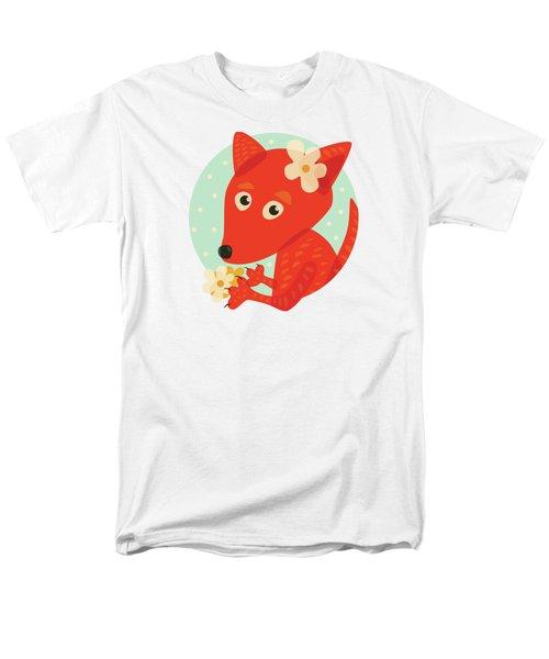 Cute Pretty Fox With Flowers Men's T-Shirt  (Regular Fit)