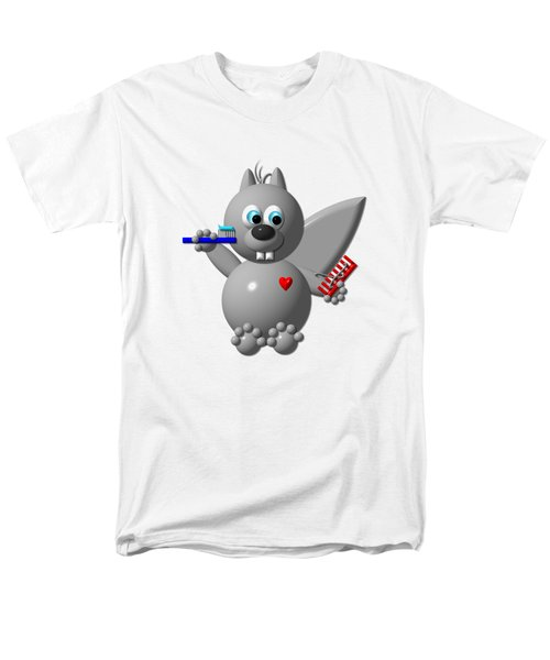 Cute Squirrel Brushing It's Hair And Teeth Men's T-Shirt  (Regular Fit) by Rose Santuci-Sofranko