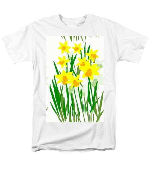 Men's T-Shirt  (Regular Fit) featuring the digital art Daffodils Drawing by Barbara Moignard