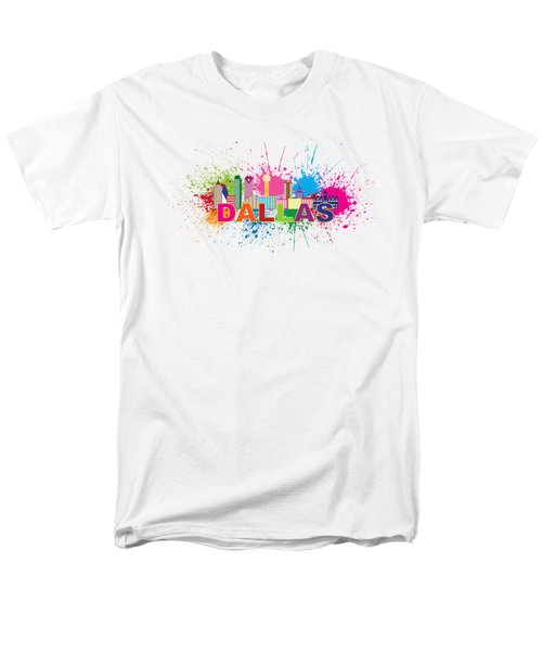 Dallas Skyline Paint Splatter Text Illustration Men's T-Shirt  (Regular Fit) by Jit Lim