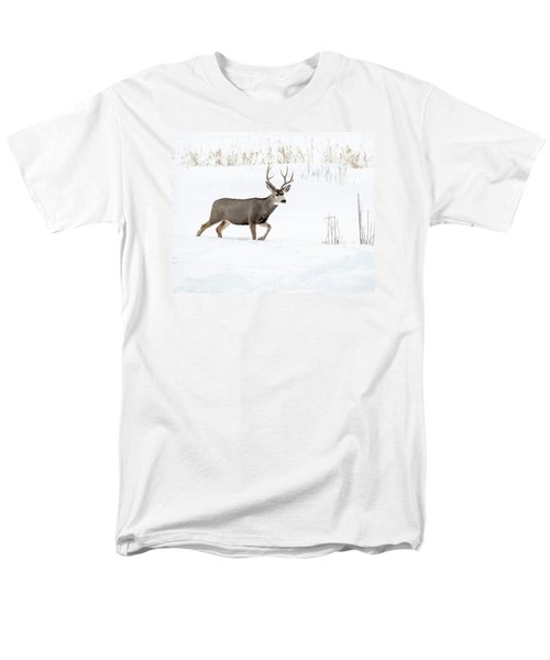 Men's T-Shirt  (Regular Fit) featuring the photograph Deer In The Snow by Rebecca Margraf