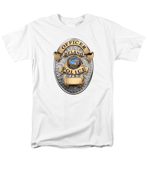 Men's T-Shirt  (Regular Fit) featuring the digital art Delano Police Department - Officer Badge Over White Leather by Serge Averbukh