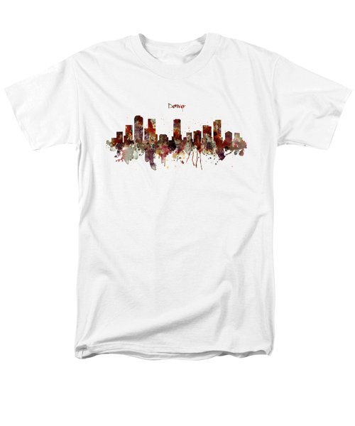 Men's T-Shirt  (Regular Fit) featuring the mixed media Denver Skyline Silhouette by Marian Voicu