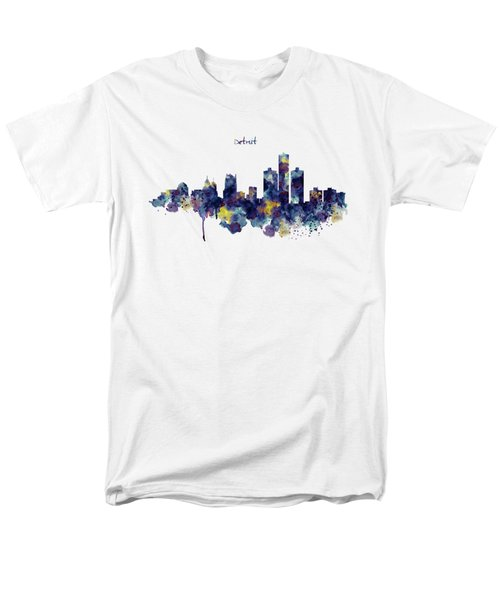 Detroit Skyline Silhouette Men's T-Shirt  (Regular Fit) by Marian Voicu