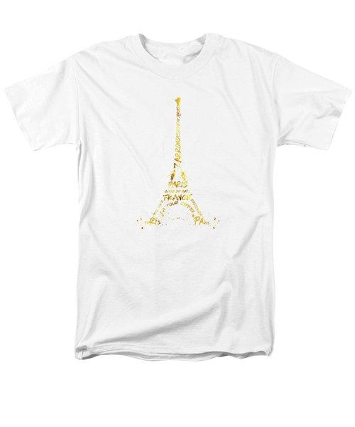 Digital-art Eiffel Tower - White And Golden Men's T-Shirt  (Regular Fit)