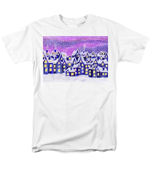 Dreamstown Blue, Painting Men's T-Shirt  (Regular Fit) by Irina Afonskaya