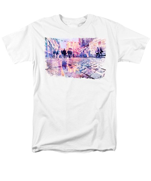 Dublin Watercolor Streetscape Men's T-Shirt  (Regular Fit) by Marian Voicu