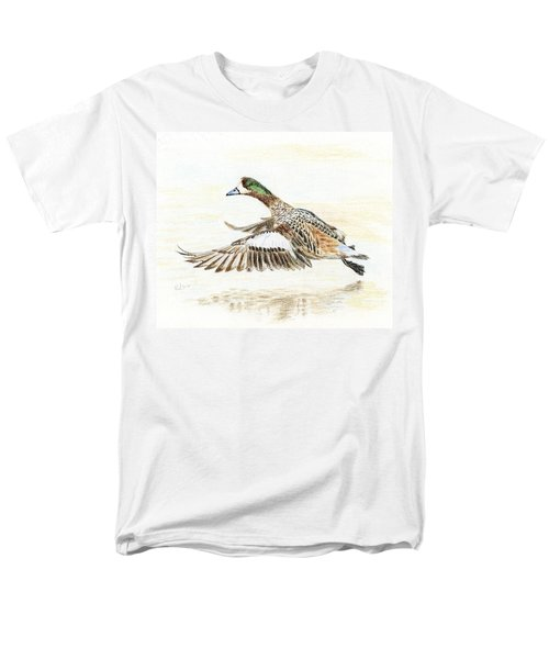 Men's T-Shirt  (Regular Fit) featuring the painting Duck Taking Off. by Raffaella Lunelli