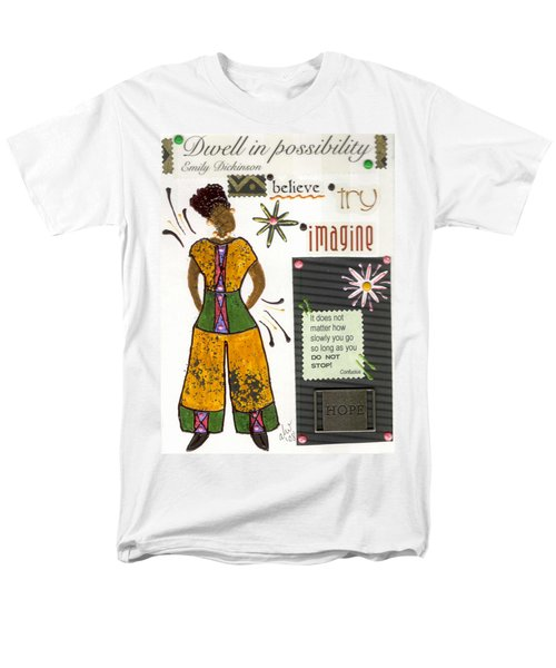 Men's T-Shirt  (Regular Fit) featuring the mixed media Dwell In Possibility by Angela L Walker