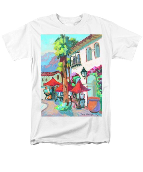 Men's T-Shirt  (Regular Fit) featuring the painting Early Morning Coffee In Old Town La Quinta 2 by Diane McClary