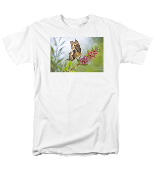Eastern Tiger Swallowtail Butterfly On Bottlebrush Men's T-Shirt  (Regular Fit) by Bonnie Barry