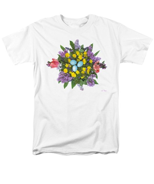 Men's T-Shirt  (Regular Fit) featuring the photograph Eggs In Dandelions, Lilacs, Violets And Tulips by Lise Winne