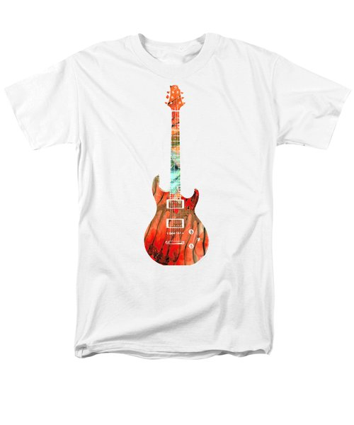 Men's T-Shirt  (Regular Fit) featuring the painting Electric Guitar 2 - Buy Colorful Abstract Musical Instrument by Sharon Cummings