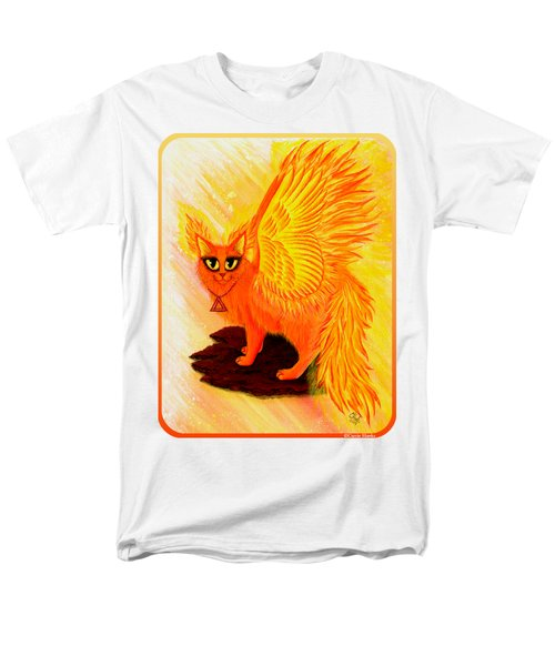 Men's T-Shirt  (Regular Fit) featuring the painting Elemental Fire Fairy Cat by Carrie Hawks