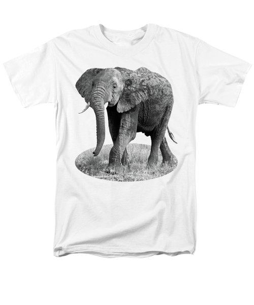 Men's T-Shirt  (Regular Fit) featuring the photograph Elephant Happy And Free In Black And White by Gill Billington