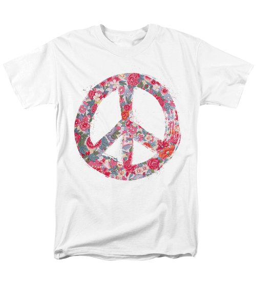 Men's T-Shirt  (Regular Fit) featuring the digital art Far Too Pretty Peace Symbol #1 by Nola Lee Kelsey