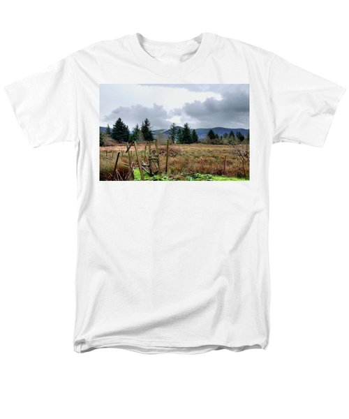 Men's T-Shirt  (Regular Fit) featuring the photograph Field, Clouds, Distant Foggy Hills by Chriss Pagani