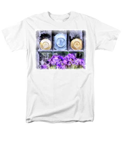 Fiestaware Window Display With Pansies Men's T-Shirt  (Regular Fit) by Betty Denise