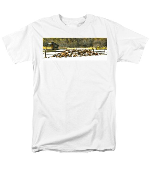 Men's T-Shirt  (Regular Fit) featuring the photograph  Floyd Snyder by Firewood in the Snow at Fort Tejon