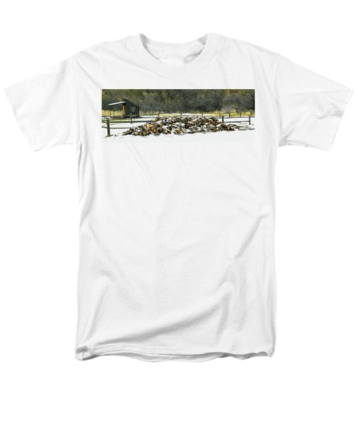 Men's T-Shirt  (Regular Fit) featuring the photograph Firewood In The Snow At Fort Tejon by Floyd Snyder