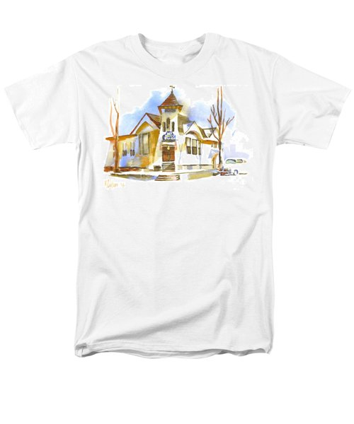 Men's T-Shirt  (Regular Fit) featuring the painting First Baptist Church In Winter by Kip DeVore