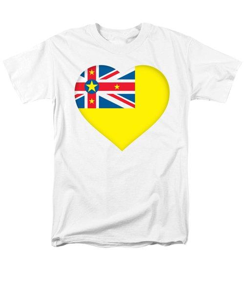 Flag Of Niue Heart Men's T-Shirt  (Regular Fit) by Roy Pedersen
