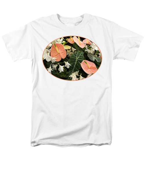 Flamingo Flowers And Orchids Men's T-Shirt  (Regular Fit) by Gill Billington