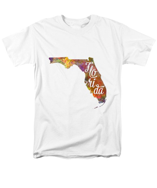 Florida Us State In Watercolor Text Cut Out Men's T-Shirt  (Regular Fit) by Pablo Romero