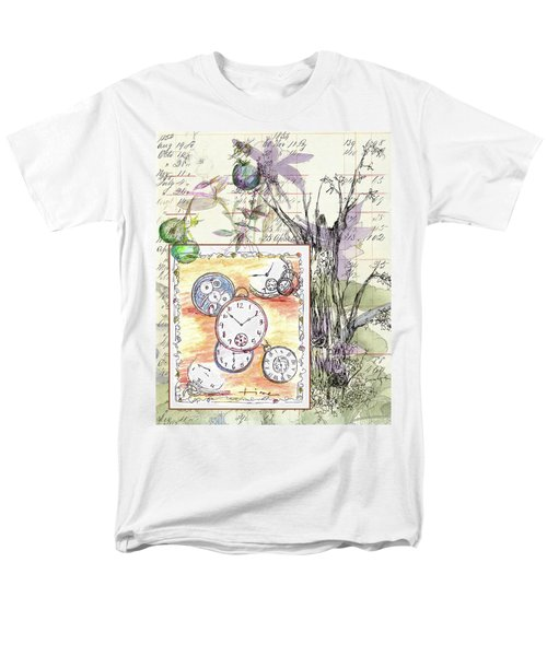 Men's T-Shirt  (Regular Fit) featuring the drawing Flowers And Time by Cathie Richardson
