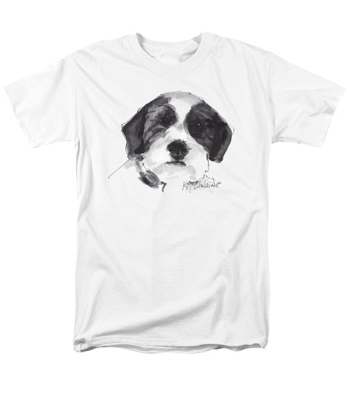 Fluffy Black And White Dog Watercolor Painting Men's T-Shirt  (Regular Fit) by Kathleen McElwaine