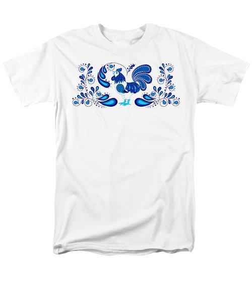 Folk Art Rooster In Blue Men's T-Shirt  (Regular Fit) by Ruanna Sion Shadd a'Dann'l Yoder