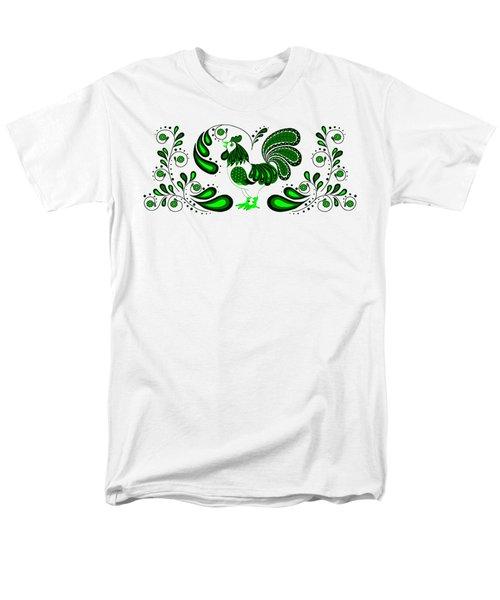 Folk Art Rooster In Green Men's T-Shirt  (Regular Fit) by Ruanna Sion Shadd a'Dann'l Yoder