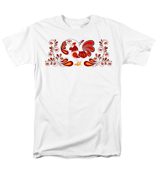 Folk Art Rooster In Red Men's T-Shirt  (Regular Fit) by Ruanna Sion Shadd a'Dann'l Yoder