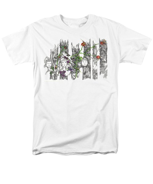 Men's T-Shirt  (Regular Fit) featuring the drawing Forest Faces by Cathie Richardson