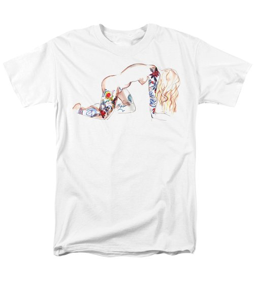 Men's T-Shirt  (Regular Fit) featuring the mixed media Forever Amber - Tattoed Nude by Carolyn Weltman