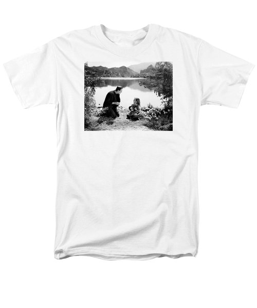 Frankenstein By The Lake With Little Girl Boris Karoff Men's T-Shirt  (Regular Fit) by R Muirhead Art
