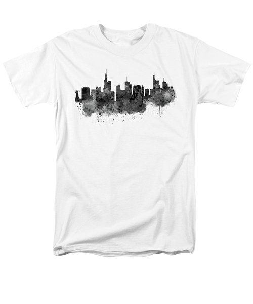Frankfurt Black And White Skyline Men's T-Shirt  (Regular Fit) by Marian Voicu