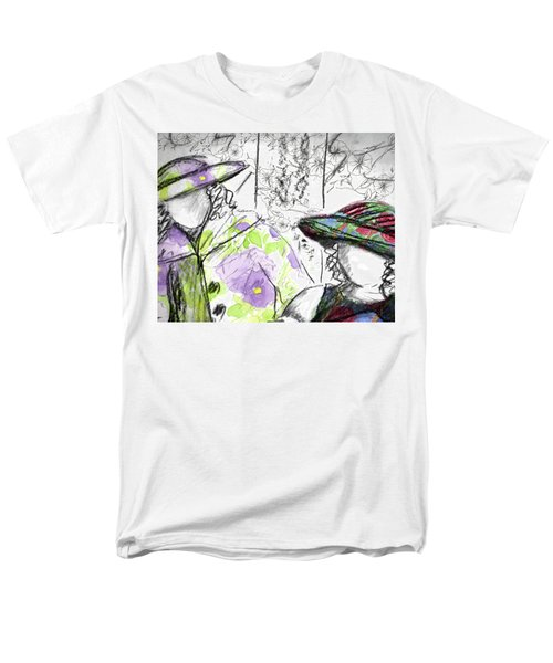 Men's T-Shirt  (Regular Fit) featuring the painting Friends And Flowers by Cathie Richardson